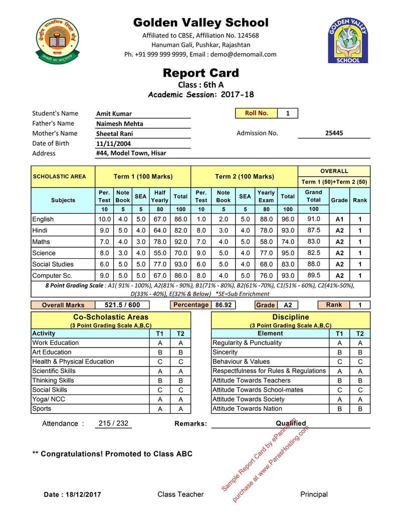 CBSE Report Card Format 201718 for Class 6th 7th – Sample Report Card