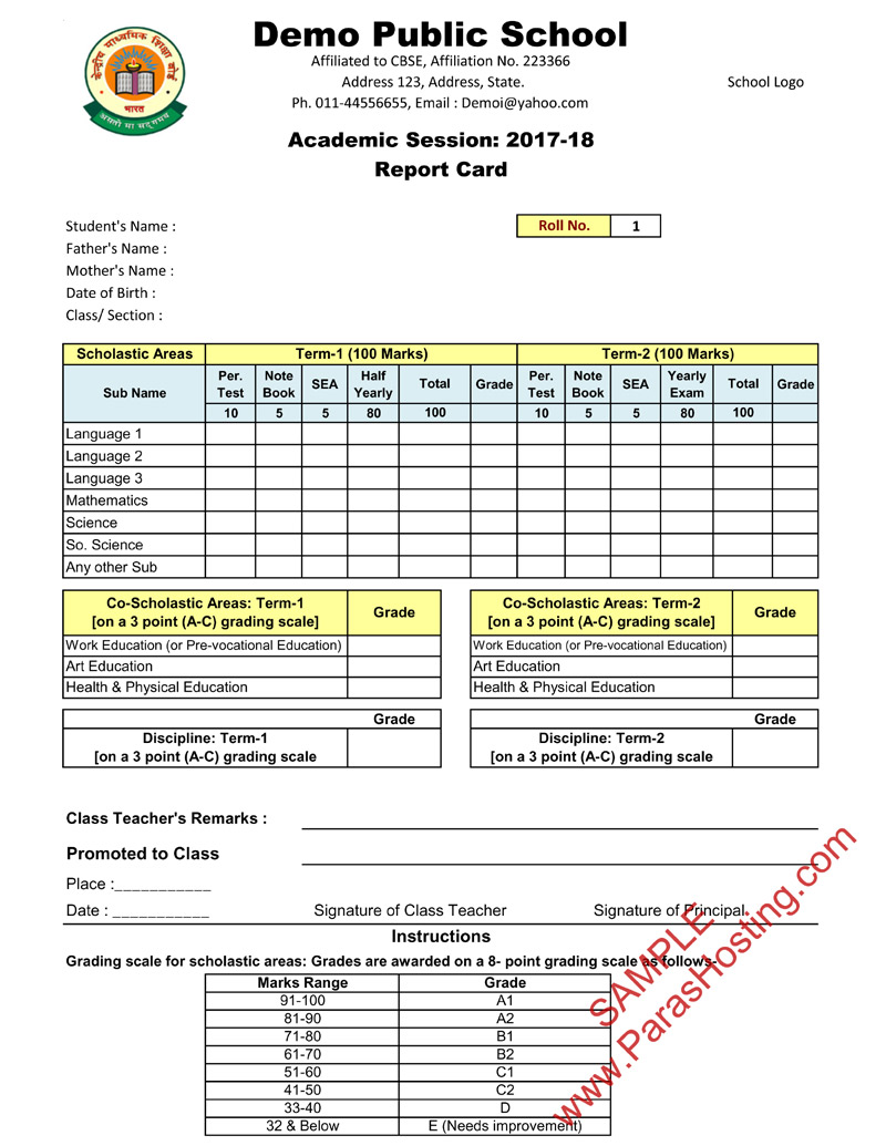 school report card 2018-19  CBSE Report Card Format for Primary Classes- I to V