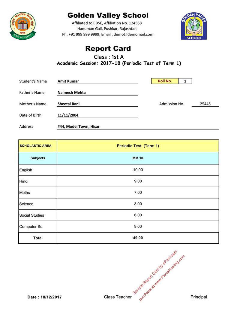 CBSE Report Card Format for Primary Classes I to V – Sample Report Card